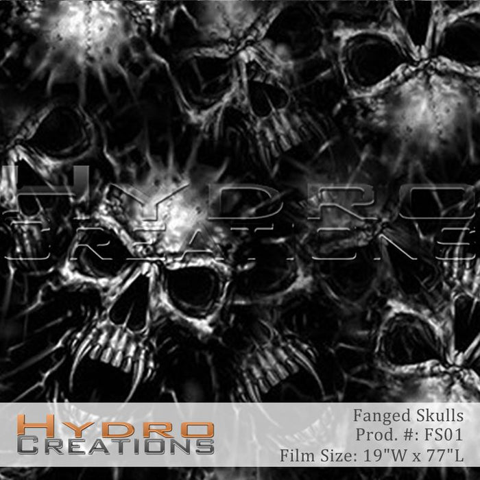 Fanged Skulls - Hydro film for hydro dipping and water transfer printing - HydroCreations