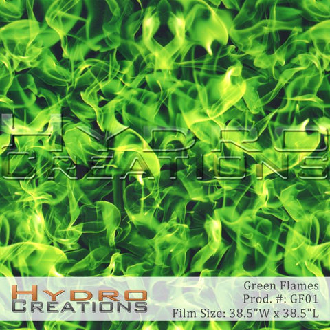 Green Flames design hydro film - product image.