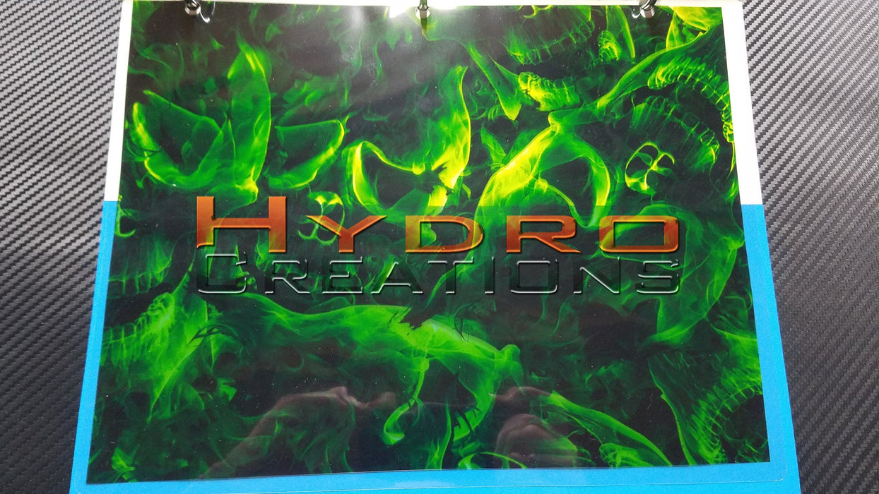 Green Flames Skulls - Hydro film for hydro dipping and water transfer printing - HydroCreations