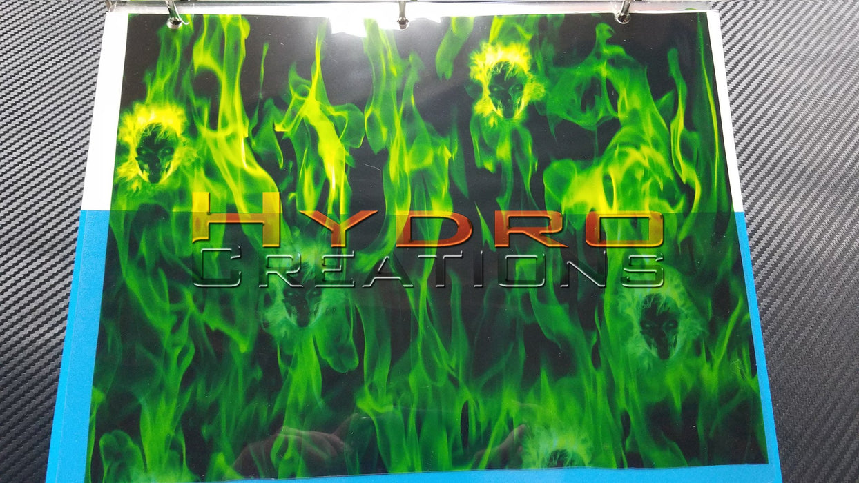 Green Flame Faces - Hydro film for hydro dipping and water transfer printing - HydroCreations