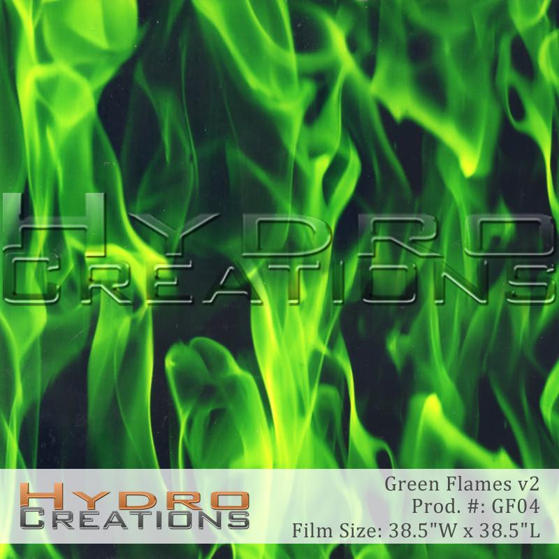 Green Flames v2 - Hydro film for hydro dipping and water transfer printing - HydroCreations