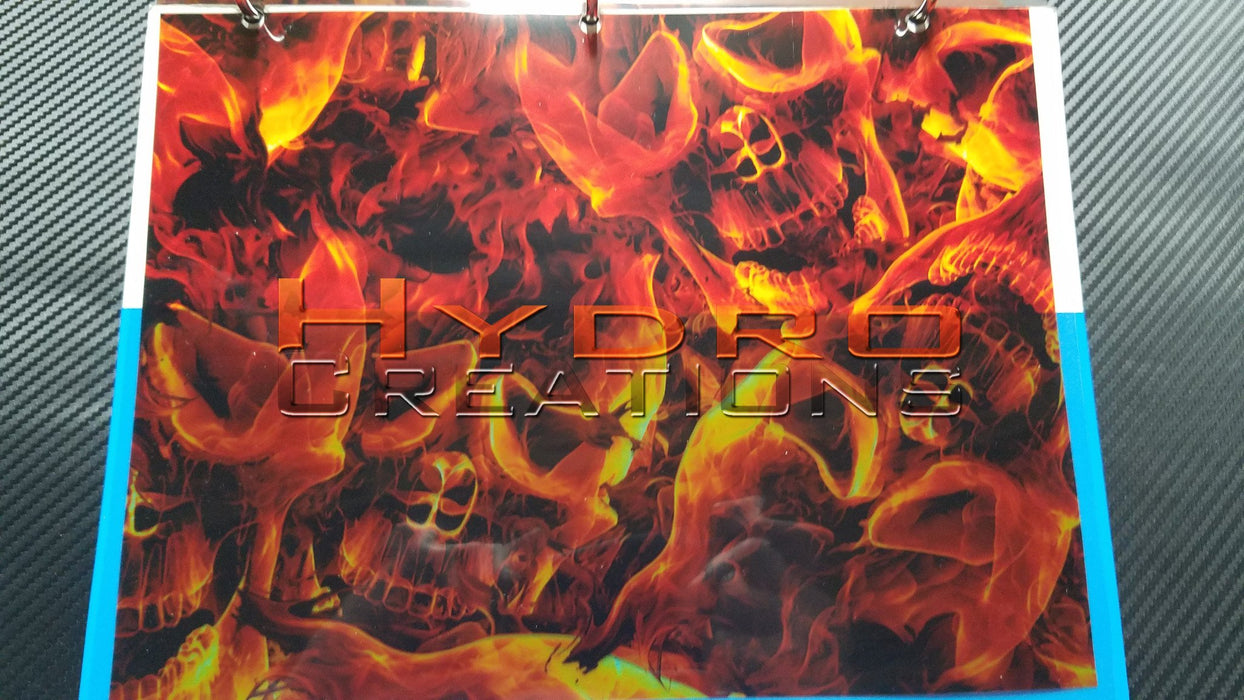 Orange Flame Skulls - Hydro film for hydro dipping and water transfer printing - HydroCreations