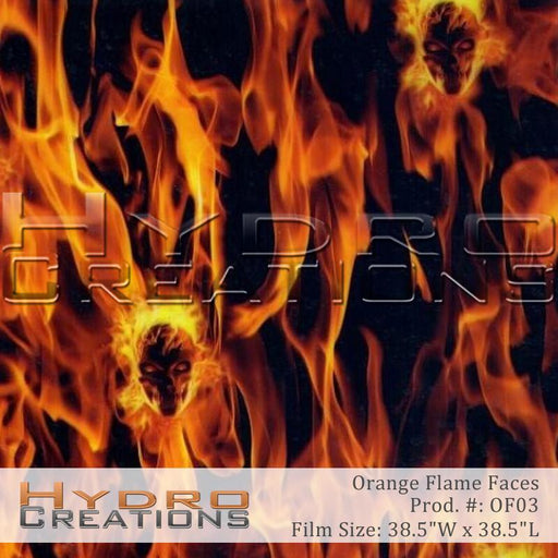 Orange Flame Faces - Hydro film for hydro dipping and water transfer printing - HydroCreations