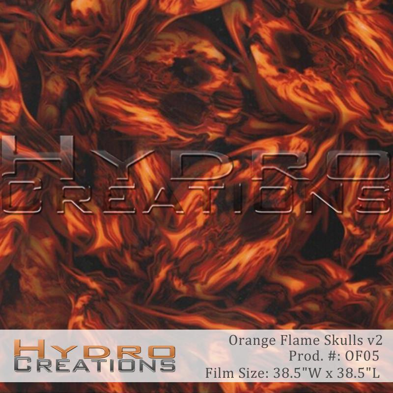 Orange Flame Skulls v2 - Hydro film for hydro dipping and water transfer printing - HydroCreations