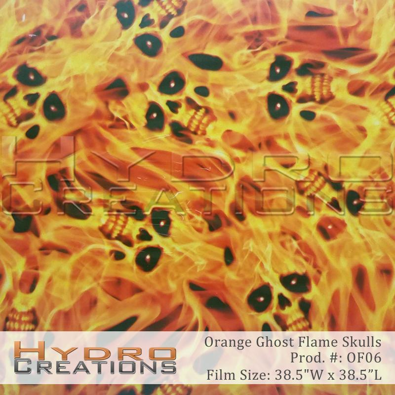 Orange Ghost Flame Skulls - Hydro film for hydro dipping and water transfer printing - HydroCreations