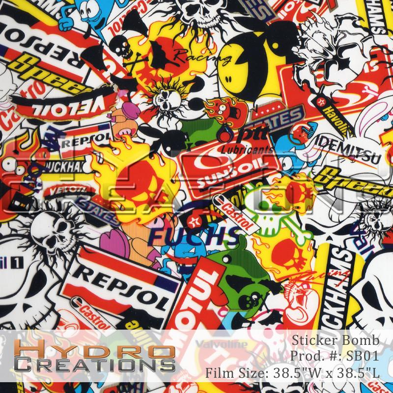 Sticker Bomb - Hydro film for hydro dipping and water transfer printing - HydroCreations