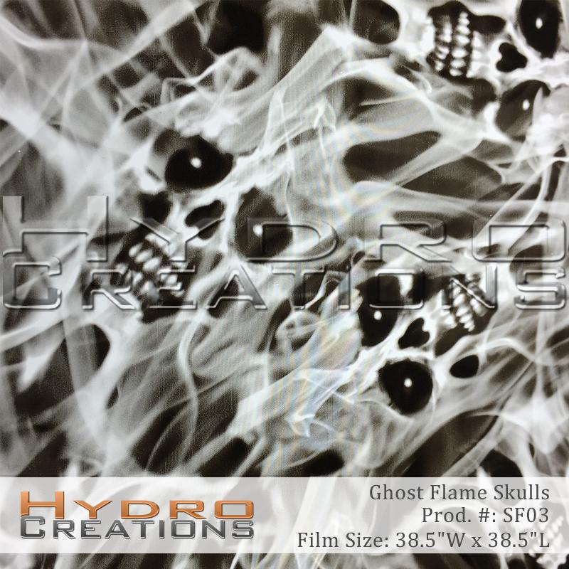 Ghost Flame Skulls - Hydro film for hydro dipping and water transfer printing - HydroCreations