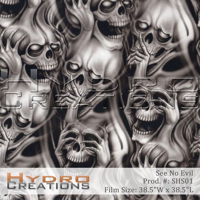 See Hear Speak No Evil - Hydro film for hydro dipping and water transfer printing - HydroCreations