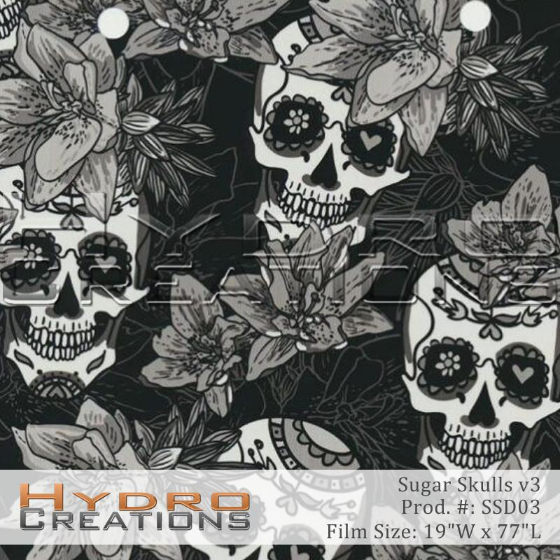 Sugar Skulls v3 - Hydro film for hydro dipping and water transfer printing - HydroCreations