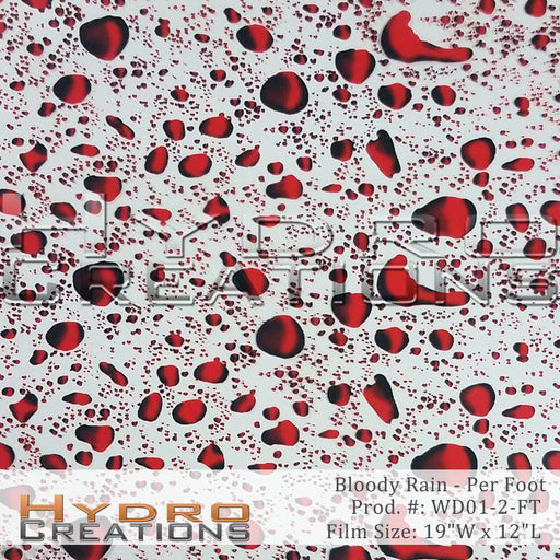 Bloody Rain - Per Foot - Hydro film for hydro dipping and water transfer printing - HydroCreations