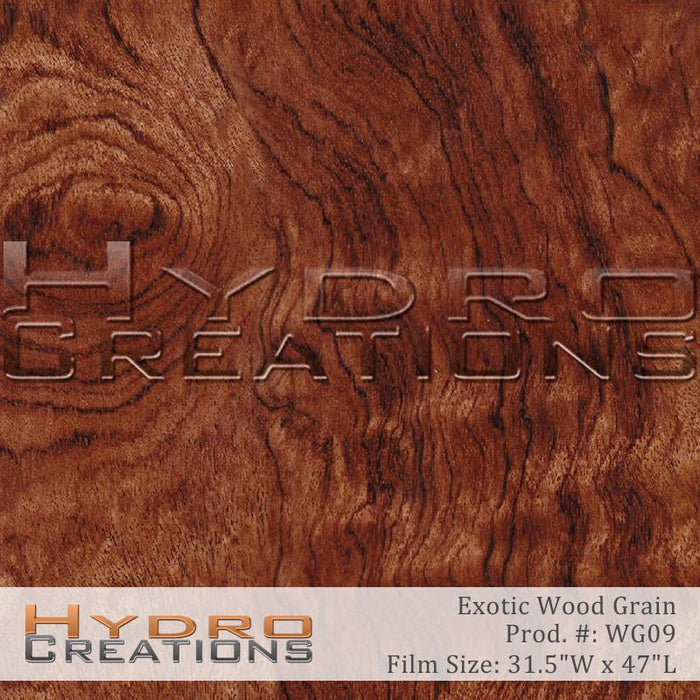 Exotic Wood Grain - Hydro film for hydro dipping and water transfer printing - HydroCreations