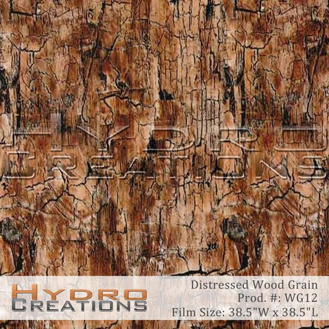 Distressed Wood Grain hydro film for water transfer printing and hydro dipping.