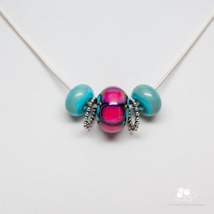 Slider Bead Necklace - Turquoise & Pink 2
