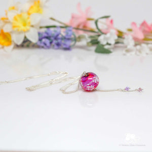 Think Hot Pink Floral Necklace