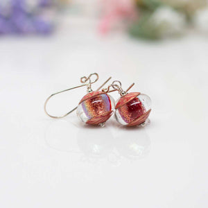 Sparkly Red Dichroic Earrings
