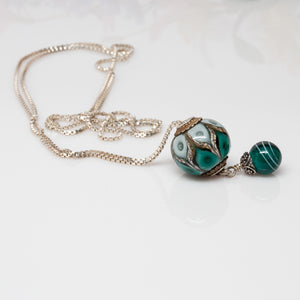 Green & White Slider Bead Necklace