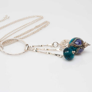 Forged Silver with Teal and Purple Beads