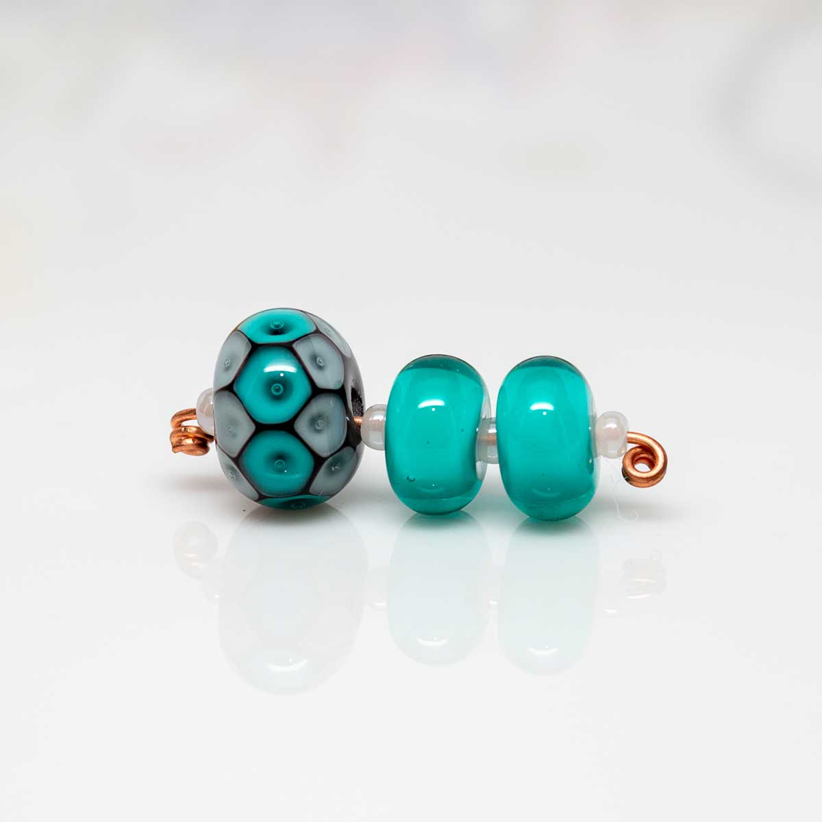 Bead Set - Teal Plunged Dots