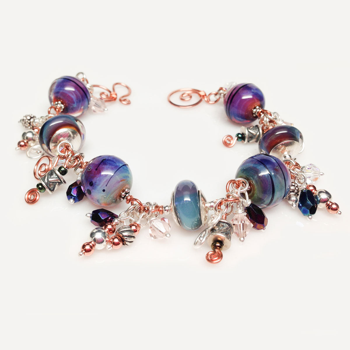 silver copper purple beaded bracelet