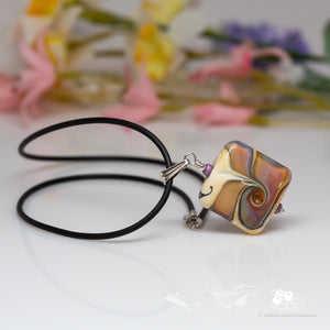 Silver & Ivory Pink Square Necklace