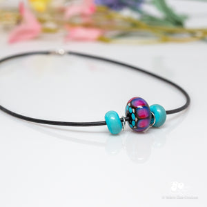 Slider Bead Necklace - Turquoise & Pink