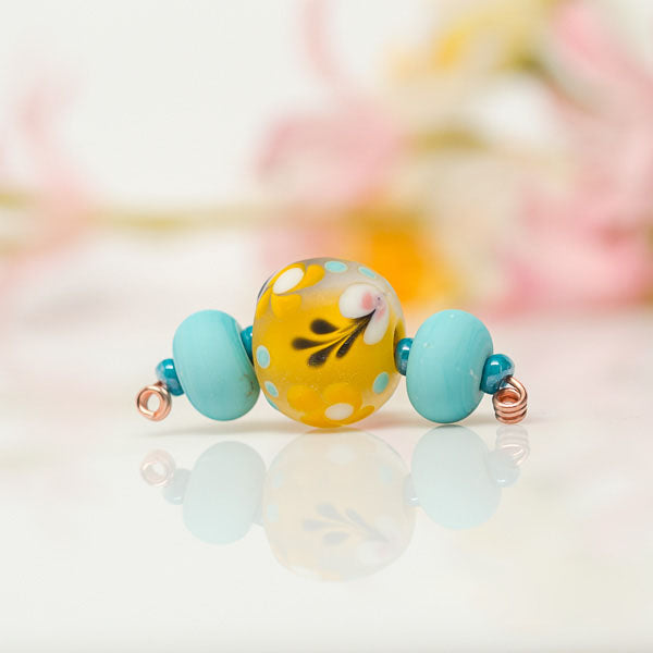 Yellow Floral Bead Set