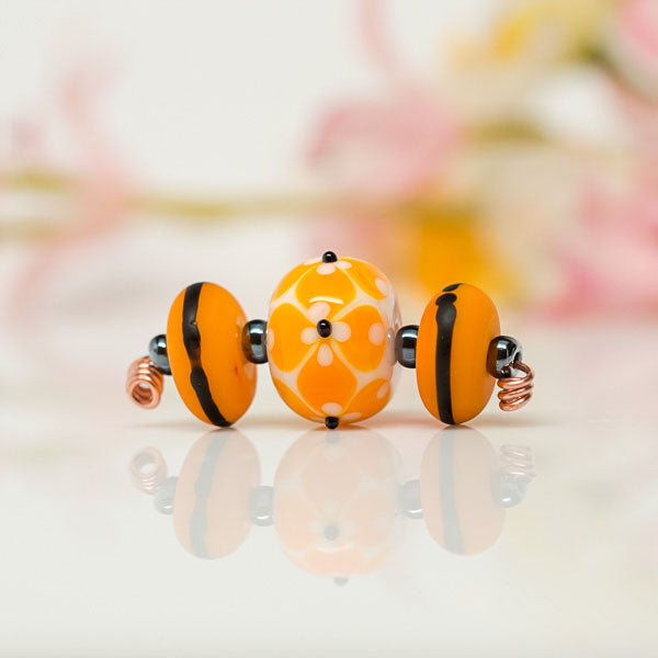 Orange Dot Bead Set