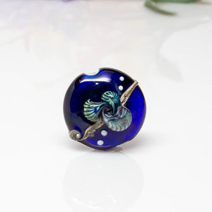 Focal Bead - Blue/Ivory