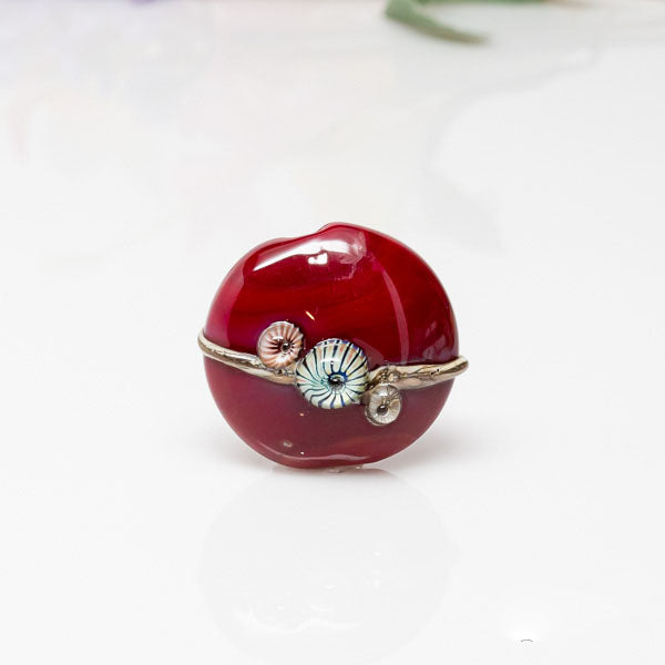 Focal Bead - Red/Ivory
