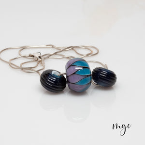 Slider Bead Necklace - Purple & Blue