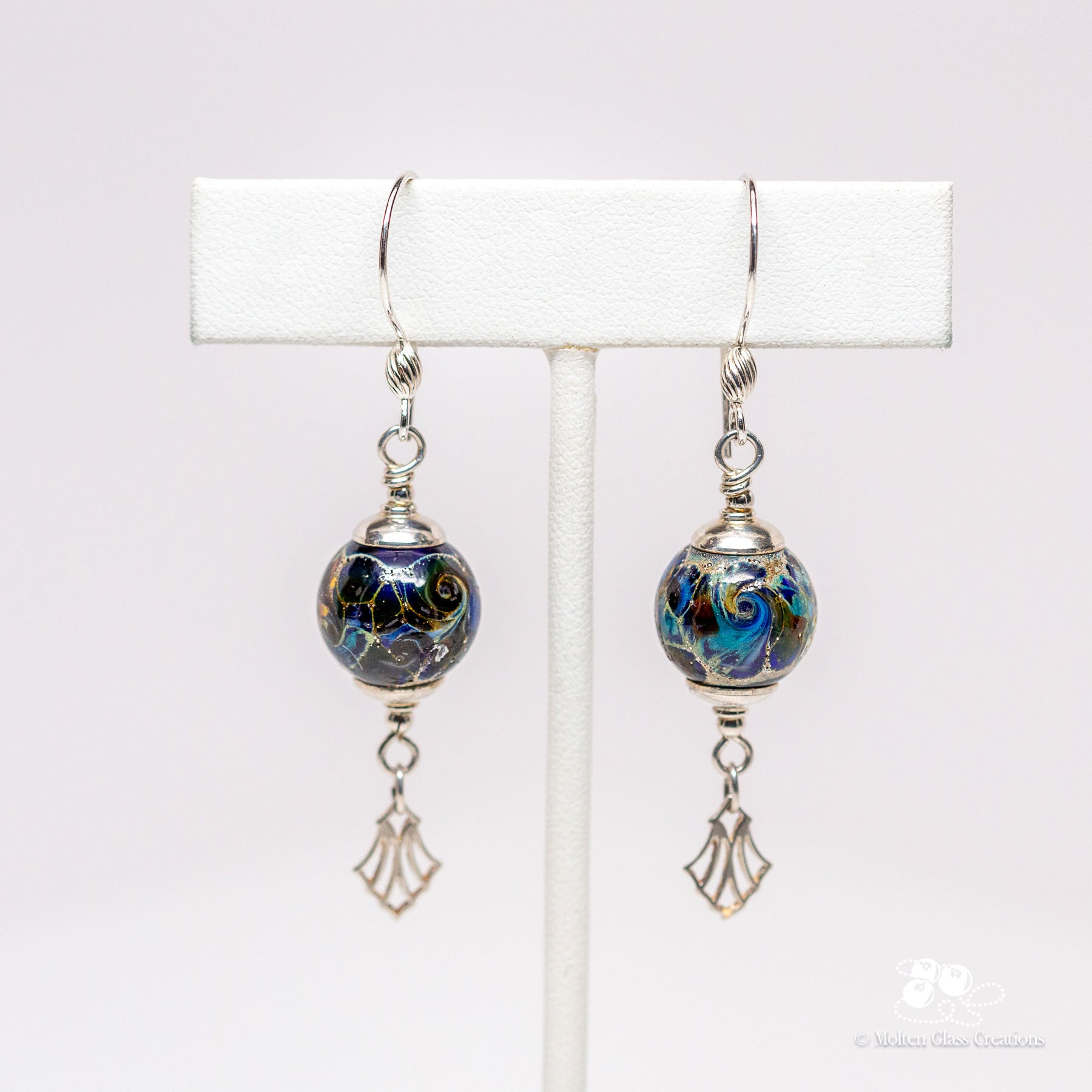 Blue Silvered Drop Earrings