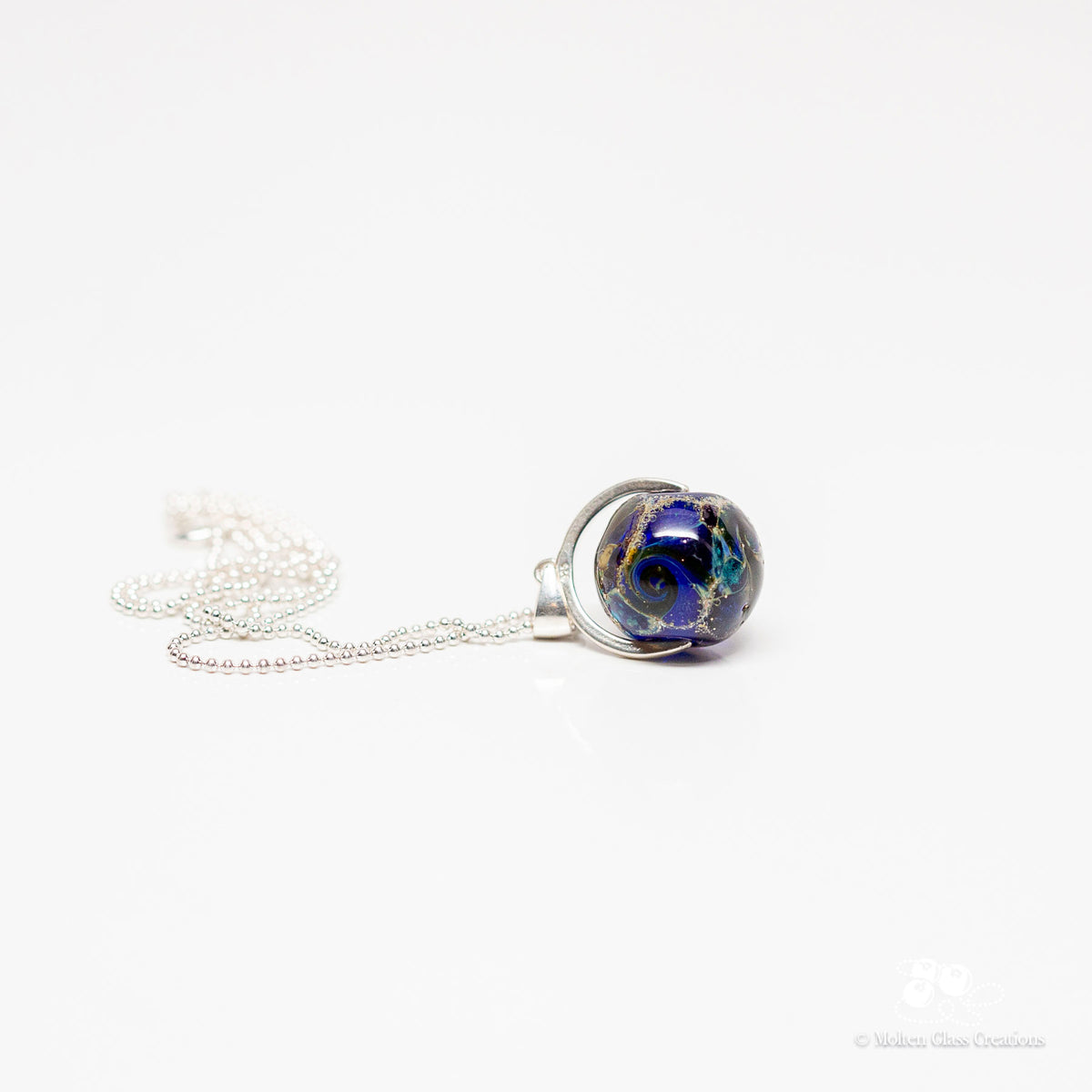 Blue Silvered Drop Necklace