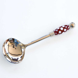 red dotted Beaded Serving Spoon