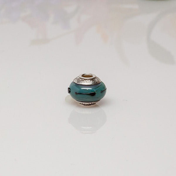 big hole bead blue