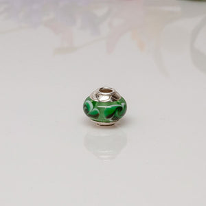 big hole bead green floral