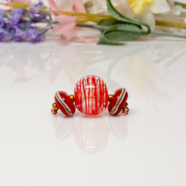 red hollow bead set