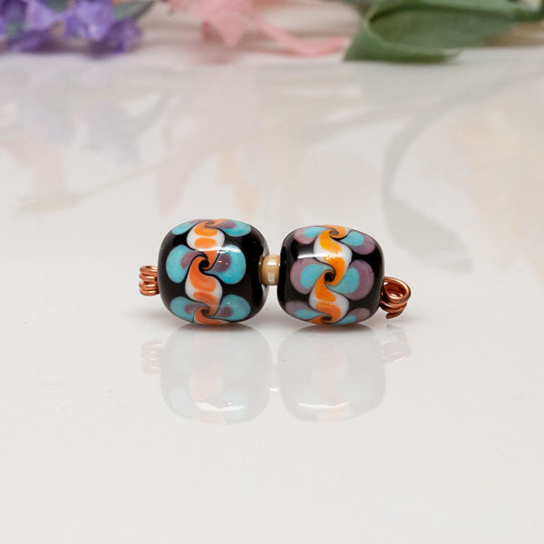 Bead Set - Blue/Orange/Swirls