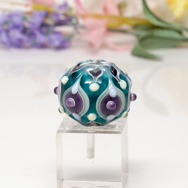 Focal Bead - Grn/Ppl/Ornate
