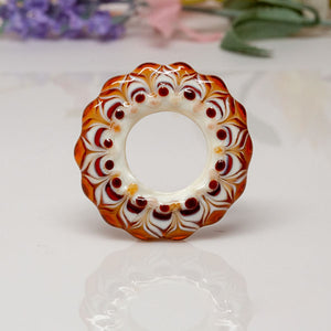 Dream Catcher Focal Bead - Amber/Ivory