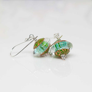 Sparkly Pale Green Dichroic Earrings