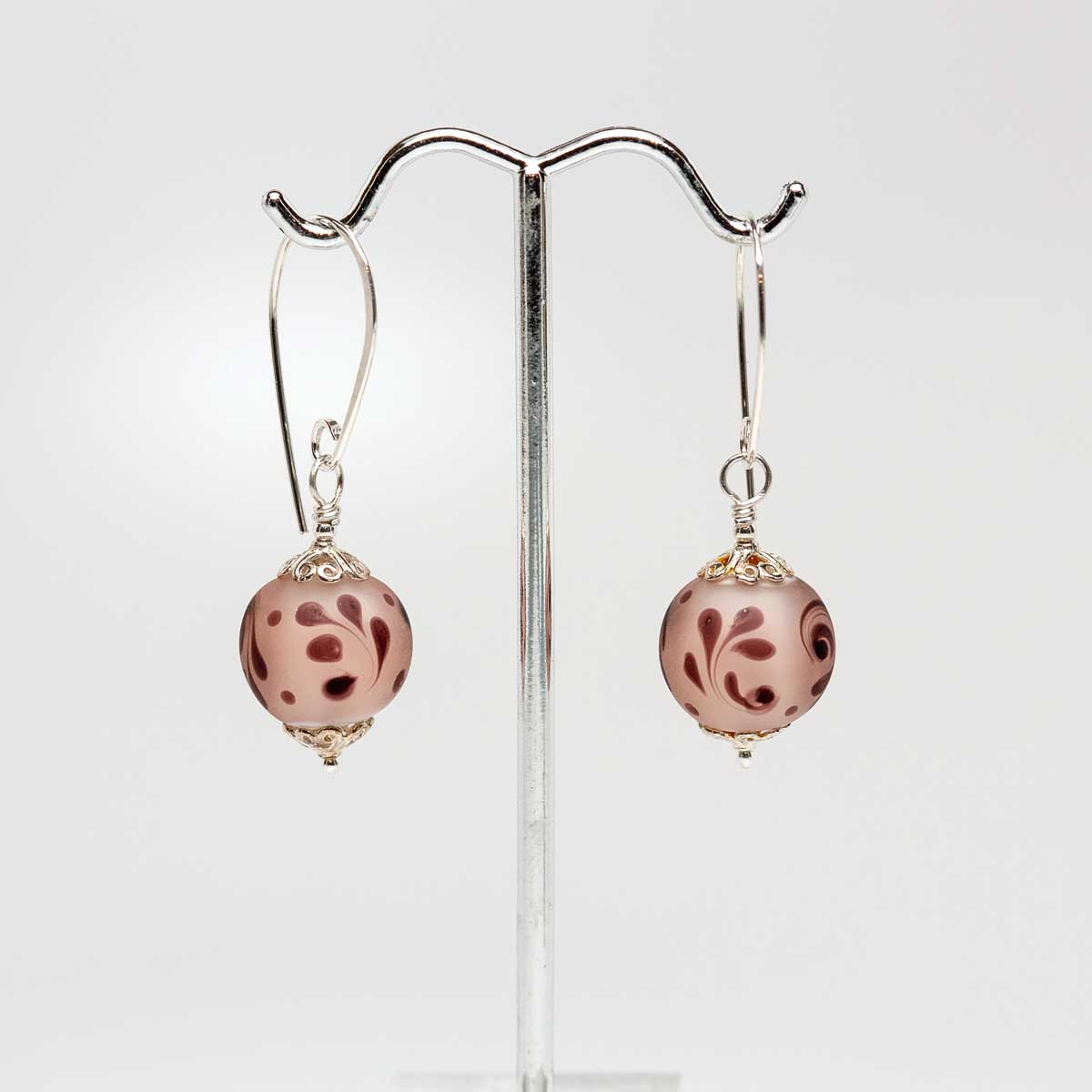 Etched Peach drop earrings