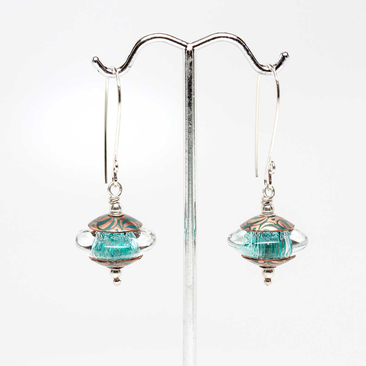 Sparkly Turquoise Dichroic Earrings