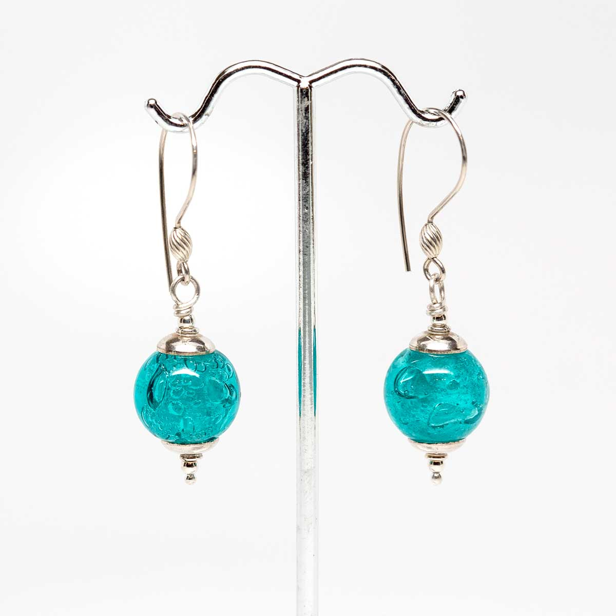 Teal Blue Bubble Drop Earrings