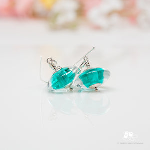 Light Teal Gemtone Disc Earrings