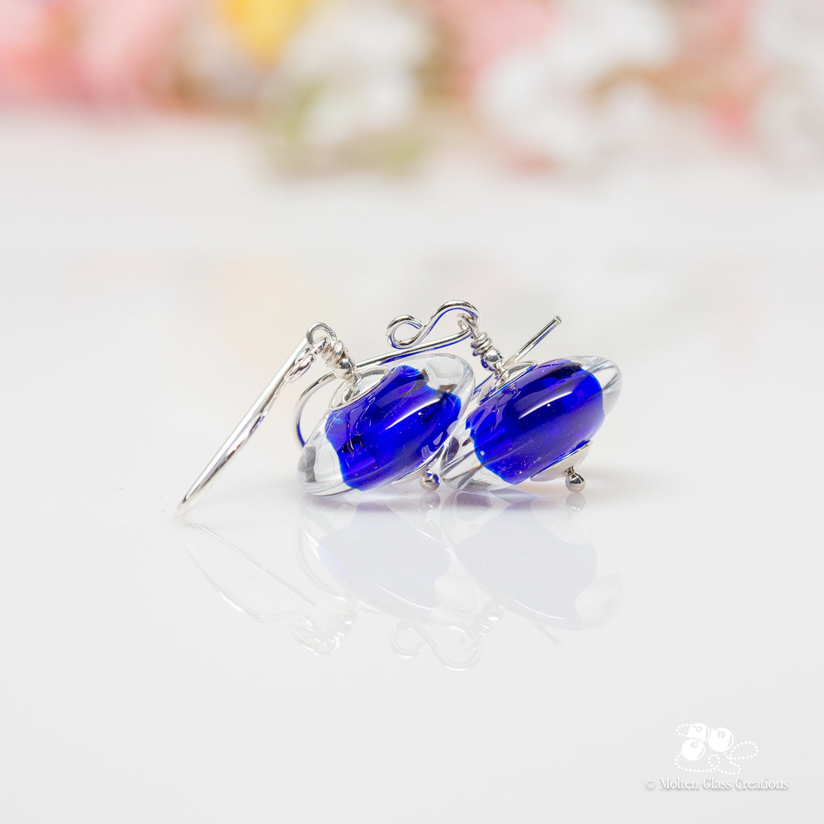 Cobalt Blue Disc Earrings