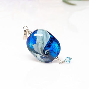 Necklace Ready Pendant - Blue/Ivory/Crystal