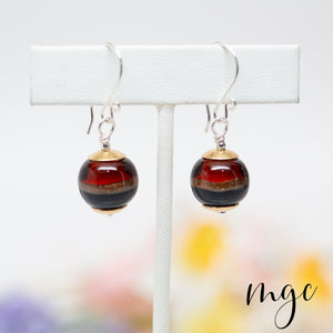 amber blue drop earrings