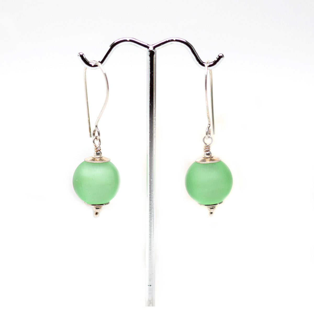 Etched Green Drop Earrings