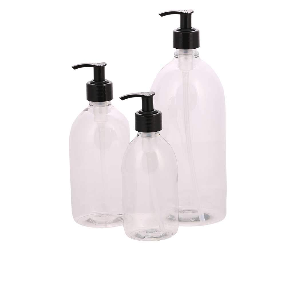 Pharmacy bottle with pump 300 ml clear