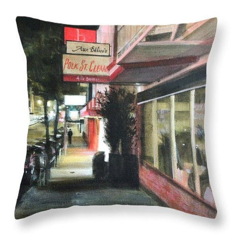 Polk St. Cleaner's - Throw Pillow
